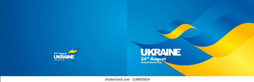 Independence Day Ukraine flag ribbon two fold landscape background