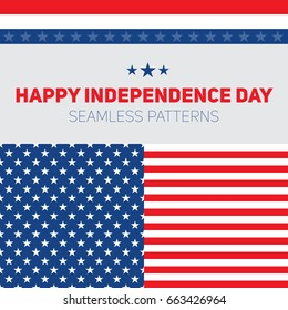 e0279d5c5ea Independence Day in United States of America. Seamless vector patterns