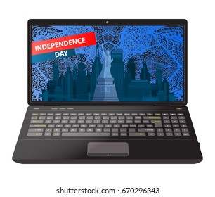 Independence Day United States. The city of New York. On a patterned background from a hand drawing vector illustration for your design. Laptop on white background.