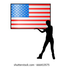 Independence Day United States. The concept of patriotism. Girl silhouette hold in hands an American flag on a white background in a black frame. The fourth of July. Illustration for your design