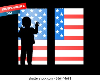 Independence Day United States. The concept of children's patriotism. The boy looks out off the window. The fourth of July. Illustration for your design.