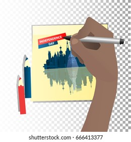 Independence Day United States. The fourth of July. Hand hold marker and draw on sticker. A statue of liberty and a city of new york with skyscrapers. Illustration for your design. vector.