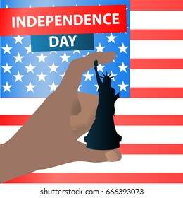 Independence Day United States. Hand holding a chess piece. A statue of freedom, the queen on the background of the American flag with the inscription. Illustration for your design. vector.