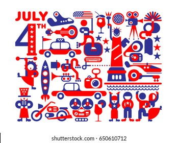 Independence Day of the United States. Red and blue colors on a white background Celebration of the USA Fourth of July vector illustration.