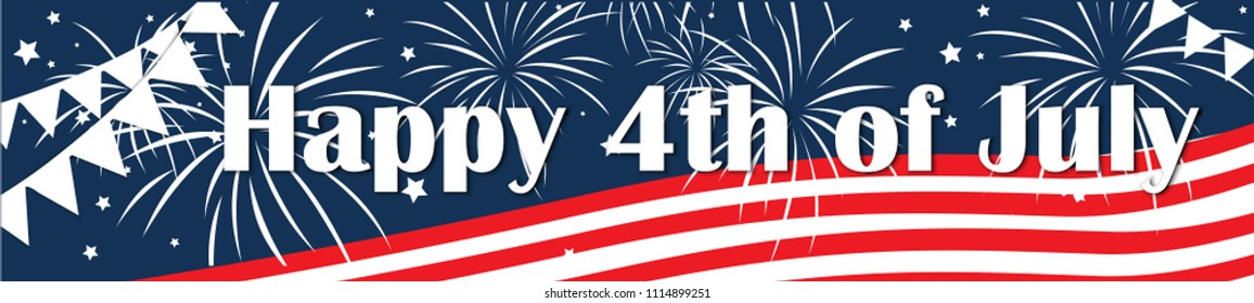 Independence day of the usa 4 th july. Vector banner illustration. Happy independence day