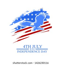 Independence day of the USA 4 th july. American flag colors paint stroke with illustration of Bald Eagle. Happy independence day, vector lllustration. Suitable for greeting card, poster and banner.