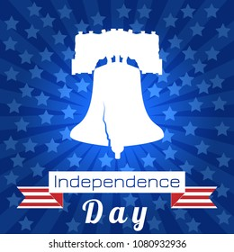 Independence Day of the USA. 4th of July. Concept of holiday. Liberty Bell. Tape, event name, rays from the center, stars
