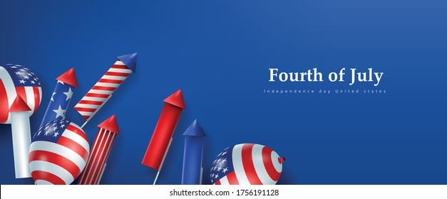 Independence day USA banner template rockets for fireworks and balloons background.4th of July celebration poster template.fourth of july vector illustration .