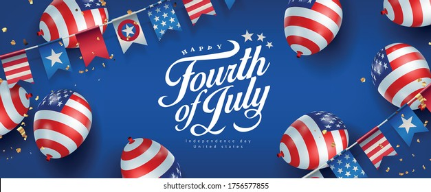 Independence day USA banner template american balloons flag and flags Garlands decor.4th of July celebration poster template.fourth of july vector illustration .