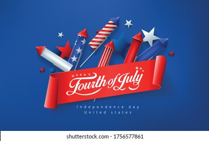 Independence day USA banner template rockets for fireworks background.4th of July celebration poster template.fourth of july vector illustration .