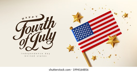 Independence day USA celebration banner with Realistic gold star and Flag of the United States. 4th of July poster template.