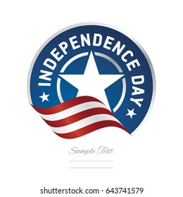 Independence Day USA flag ribbon color label logo icon