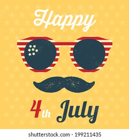 Independence day USA / Happy 4th July / Typographic vintage illustration / Vector illustration