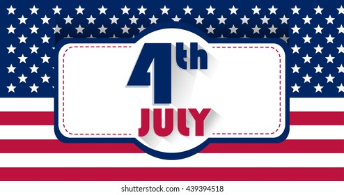 Independence Day USA. Patriotic Stock vector image. The 4th of July, US Flag in a background