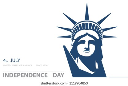 Independence Day, USA. Poster, portrait. Blue Linear Picture. Statute of Liberty, book.2018. Symbol of America. Illustration, white, background. Use presentations, corporate reports,postcards, vector