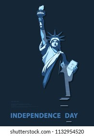 Independence Day, USA. Poster.Blue Linear Picture.Statue of Liberty, book.2018.National Symbol of America.Illustration, dark gray background. Use presentations,corporate reports,flag, postcards,vector