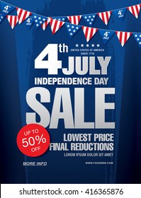 Independence day of the usa sale banner template design