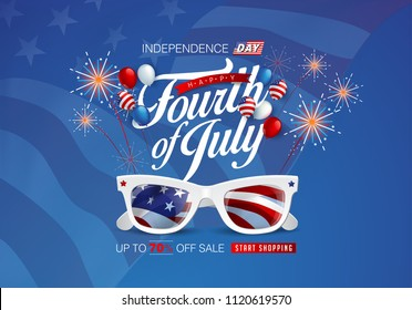 Independence day USA sale promotion advertising banner template american balloons flag decor.4th of July celebration poster template.voucher discount.Vector illustration .