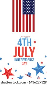 Independence day USA sale promotion banner template.4th of July celebration poster template. Vector illustration .