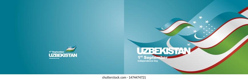 Independence Day Uzbekistan flag ribbon two fold landscape background