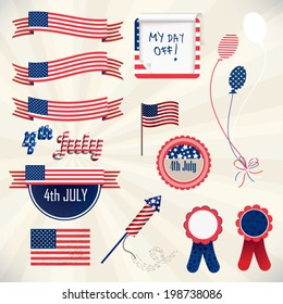 Independence day Vector Design Set with ribbons and national emblems isolated on background