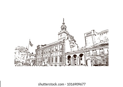 independence hall at Philadelphia City in Pennsylvania, USA. Hand drawn sketch illustration in vector.