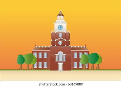 independence hall at sundown ( background on separate layer)