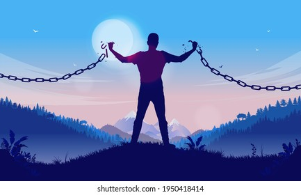 Independency - Silhouette of man breaking chains to become free and independent. Personal freedom concept. Vector illustration.