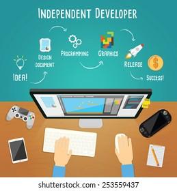 Independent game developer vector illustration