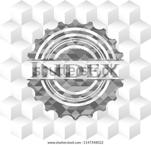 Index grey emblem with geometric cube white background