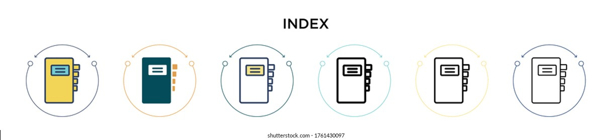 Index icon in filled, thin line, outline and stroke style. Vector illustration of two colored and black index vector icons designs can be used for mobile, ui, web
