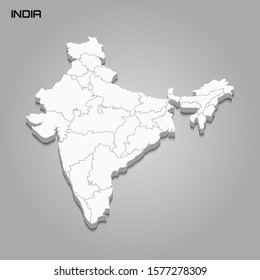 India 3d map with borders of regions. Vector illustration