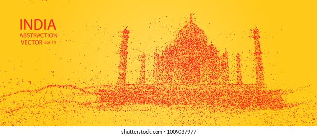 India abstract silhouette of the temple, consisting of circles. The Horizon Of Delhi. Vector eps 10.