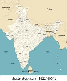 Indische Verwaltungsabteilungen, Vektorkarte mit Nachbarländern