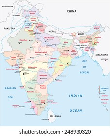 india administrative map 2015 including Telangana