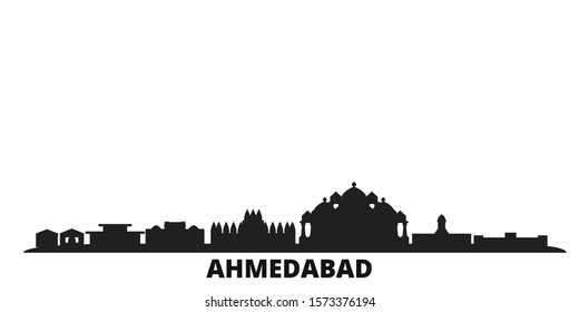 India, Ahmedabad city skyline isolated vector illustration. India, Ahmedabad travel black cityscape