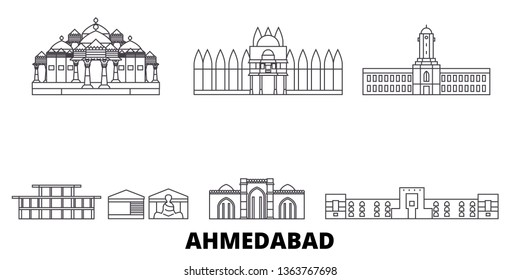 India, Ahmedabad line travel skyline set. India, Ahmedabad outline city vector illustration, symbol, travel sights, landmarks.