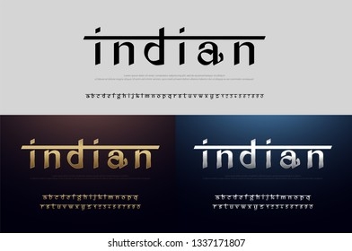 India alphabet font silver and gold. Modern traditional indian typography golden fonts and number. vector illustration