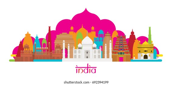 India Architecture Landmarks Skyline, Cityscape, Travel and Tourist Attraction