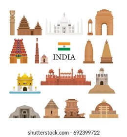 India Architecture Objects Icons Set, Landmarks, Travel and Tourist Attraction