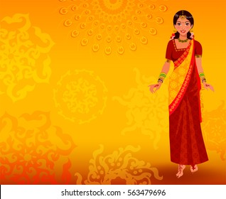 India background with girl in red sari.