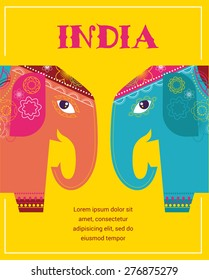 India - background with patterned colorful elephants