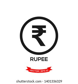 INDIA banking currency symbol, RUPEE vector icon