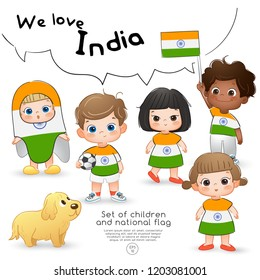 India : Boys and girls holding flag and wearing shirts with national flag print : Vector Illustration
