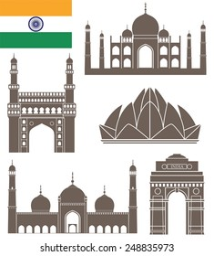 India building logo. Isolated India buildings on white background