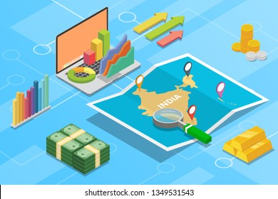 india business economy growth country with map and finance condition - vector