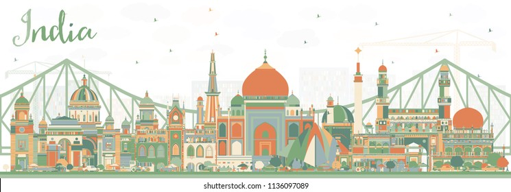 India City Skyline with Color Buildings. Delhi. Hyderabad. Kolkata. Vector Illustration. Travel and Tourism Concept with Historic Architecture. India Cityscape with Landmarks.