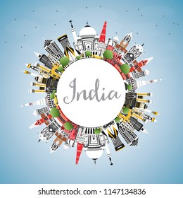 India City Skyline with Color Buildings, Blue Sky and Copy Space. Delhi. Mumbai, Bangalore, Chennai. Vector Illustration. Tourism Concept with Historic Architecture. India Cityscape with Landmarks.