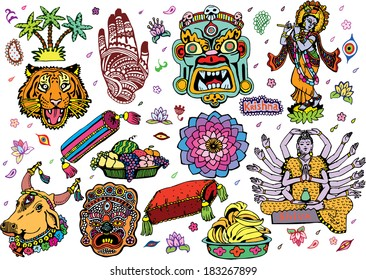 India Collection Colorful (EPS10 Vector doodles)