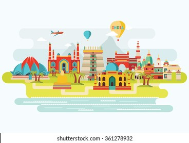 India colorful detailed skyline. Vector illustration